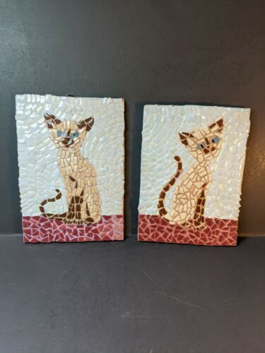 Vintage Mosaic Siamese Cat Pictures.Hand Crafted & Signed (KITCH)