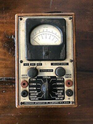 Vintage Precision 832s Volt-ohm Meter Wooden Case Leather Strap