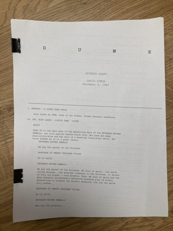 DUNE Screenplay 7th Draft By David Lynch 1983 Script MacLachlan Sting Stewart