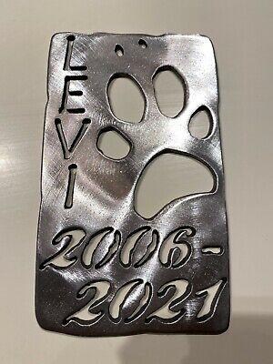 Levi the dog memorial plates
