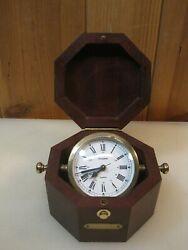 Bulova B7910 Quartermaster Maritime Alarm Clock Table Desk Made In Germany 2617