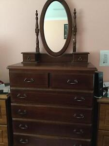 3 piece polished solid wood bedroom suite. Littleton Lithgow Area Preview