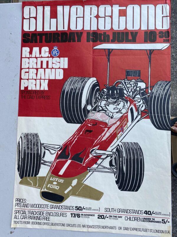 1969 ORIGINAL SILVERSTONE BRITISH GRAND PRIX RACE EVENT POSTER LOTUS GRAHAM HILL