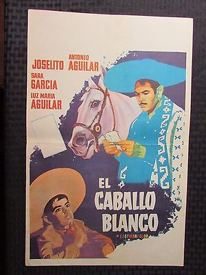 """Vintage Mexican Lobby Card 12.5x19.5"""" VG THE WHITE HORSE"""