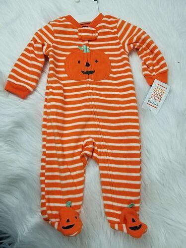 NWT Just One You Carter's Halloween Pumpkin Fleece Footed Sleeper Size 3 months