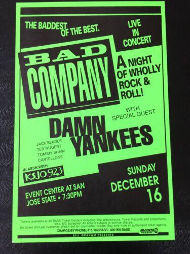 Bad Company Ted Nugent damn yankees San Jose VINTAGE Concert Poster