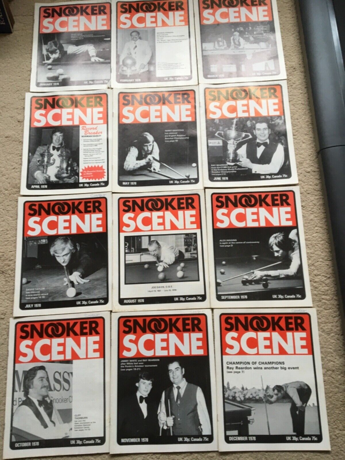 1978 Snooker Scene Magazine, complete year,  Good Condition.