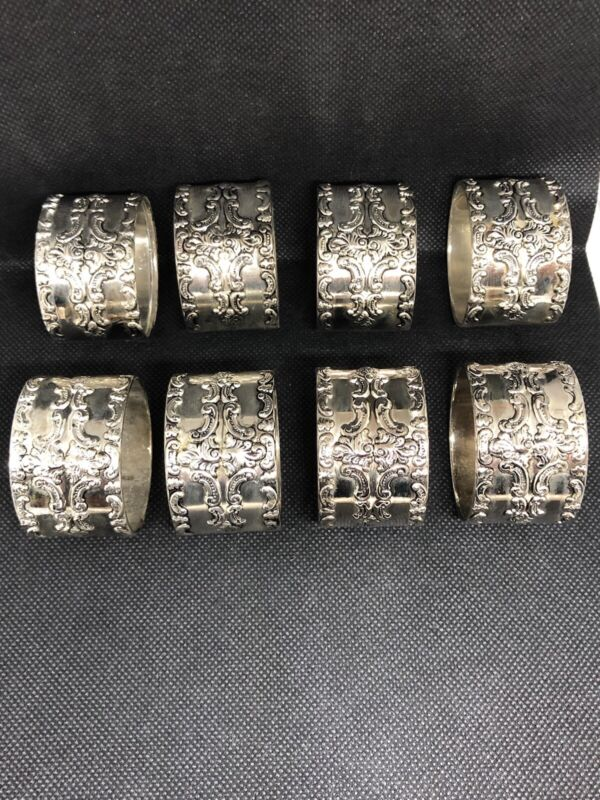 "Vintage Silverplate Napkin Rings 8 Ornate Napkin Rings 1 7/8"" wide, 1.8 oz each"