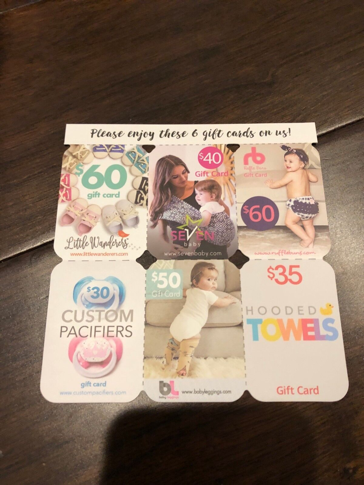 Little Wanderers / Ruffle Buns / Seven Baby / Custom Pacifiers / Gift Card Cards - $20.00