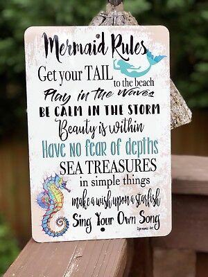 Mermaid Rules- Beach Decor - Metal Sign - Home Decor - Mermaid Sign - Kids Room