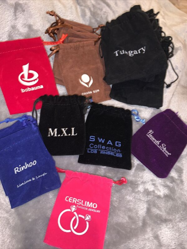 Lot Of 21 Mixed Color And Brand Jewelry Pouches