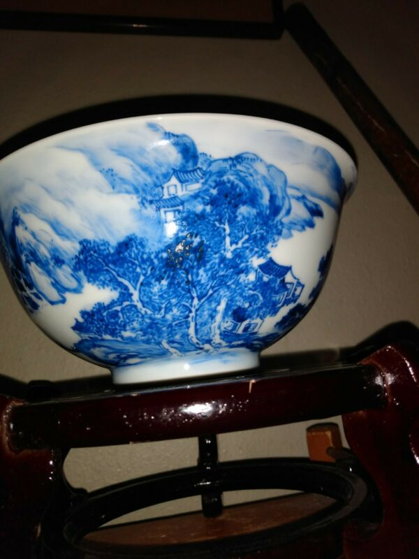 chinese porcelain blue and white republic bowl mountain scenery