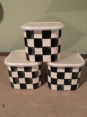 - MacKenzie-Childs Courtly Check Enamel Deep Square Bowl Set , Med., Set of 3 ,NEW