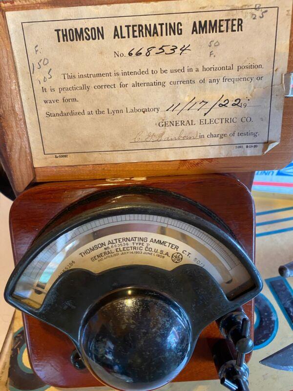 Old Antique Thomson Alternating Ammeter GE 1922 Scientific Instrument Wooden Box