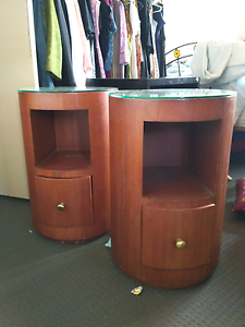 2 x Round Deco bedside tables Hamilton South Newcastle Area Preview