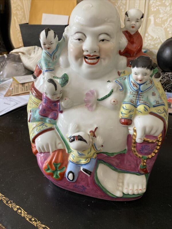CHINESE LAUGHING BUDDHA PORCELAIN HAPPY FAMILY