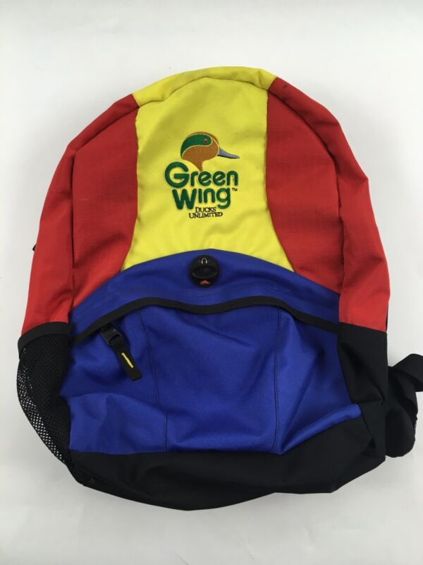 Green Wing Ducks Unlimited Backpack Red Yellow Blue Book Bag 2003