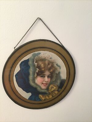 """Antique Victorian Flue Cover Stove Pipe Cover Young Girl in Blue Hooded Coat 10"""""""