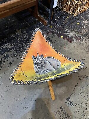 Vintage Wood & Leather Folding Tripod Stool Hand Painted