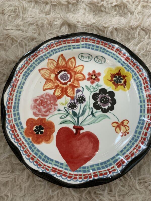 Nathalie Lete Heart Flower Pour Toi Decorative Plate  Anthropologie Francophile
