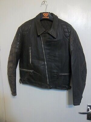 VINTAGE 80'S DISTRESSED LEATHER MOTORCYCLE PERFECTO JACKET SIZE 40""