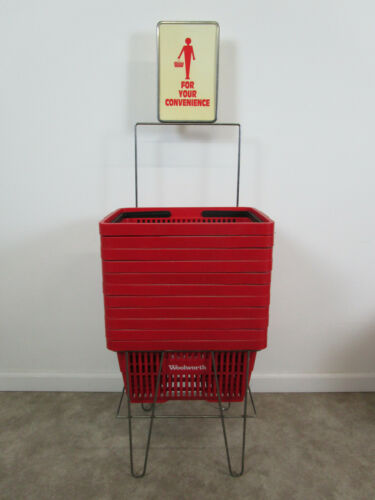 Vintage mid century Woolworths Shopping Basket display stand w/ 11 baskets store