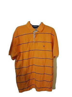 Tommy Hilfiger Polo Shirt Large Mens  Orange 100% Cotton