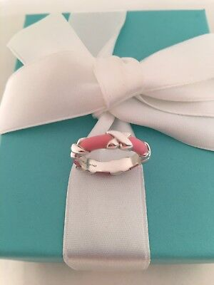 Tiffany & Co Silver Pink Enamel Signature X Stacking Band Ring. Size 5