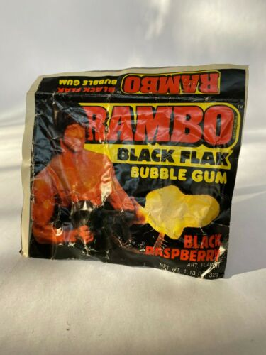 VTG RAMBO Black Flack Black Raspberry Bubblegum SealedPackage