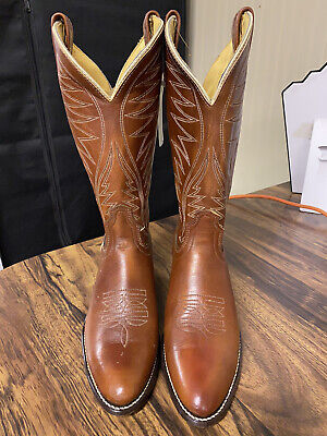 ACME Women's Size 7.5 Brown Leather Embroidered Cowboy Boots