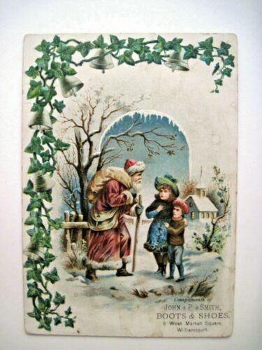 "Christmas Victorian Trade Card ""John P. Smith - Boots & Shoes - Santa & Kids  *"
