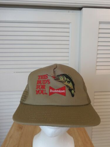 Vintage Budweiser Fishing This Bud Is For You Mesh Trucker Snapback Hat