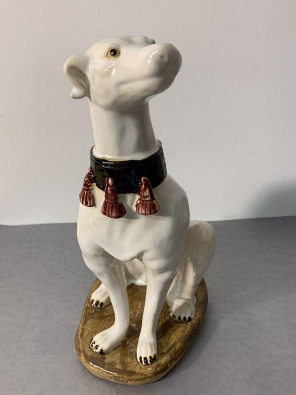 Vintage Italian Style White Glazed Ceramic Whippet Greyhound Dog StatueTassels