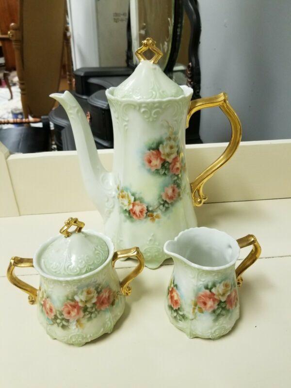 Antique Japanese chocolate pot painted flowers gold gilt porcelain teapot 5 Pcs