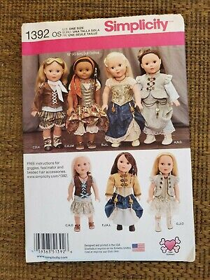"Simplicity 1392 18"" American Girl doll dress jacket pantaloons corset Steampunk"