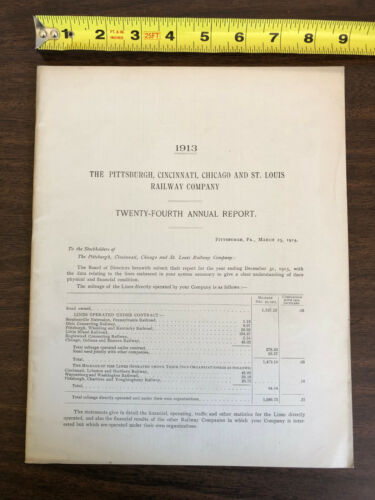 1913 Pittsburgh Cincinnati Chicago St Louis Railway Company 24th Annual Report