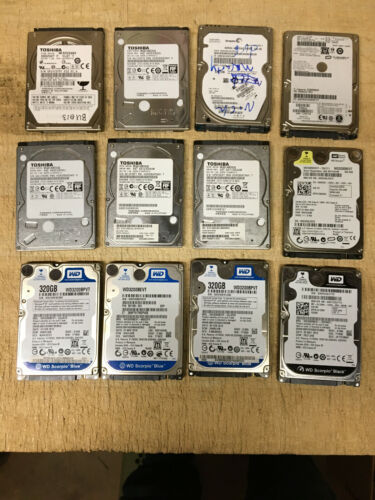Lot of 12 Name Brand 320GB Laptop SATA HDD Wiped and Tested