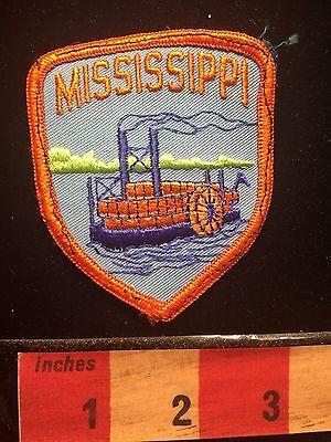 Vintage Mississippi River Boat ORANGE BORDER VERSION State Souvenir Patch 66UU