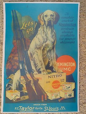 Remington,UMC Firearms & Ammo Advertising Poster,Taylor Fur Co. St.Louis,MO.