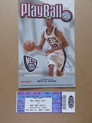 NEW JERSEY NETS vs NEW YORK KNICKS 2003 BASKETBALL PROGRAM & TICKET STUB