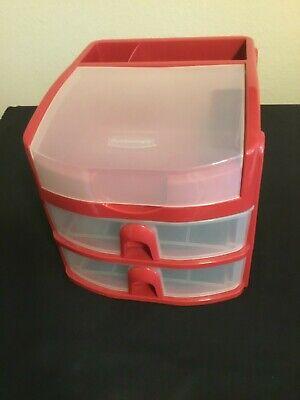 Vintage Rubbermaid Red Desk Organizer-6.5x6.5x8.25