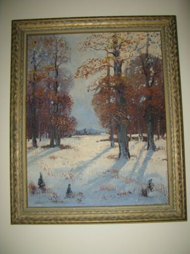 """ERNEST FREDERICKS OIL PAINTING """"RED OAKS"""" C 1940s WITH ORIG FRAME"""