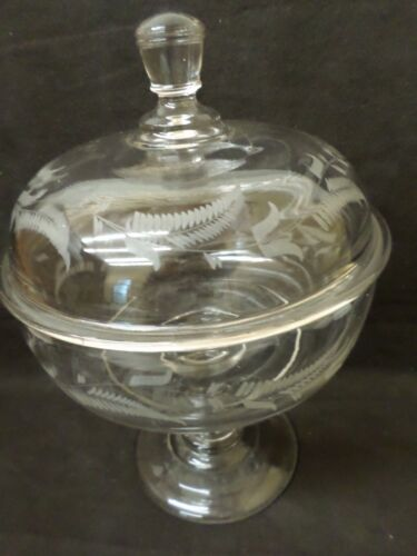 Antique Fern Leaf Etched Glass Compote