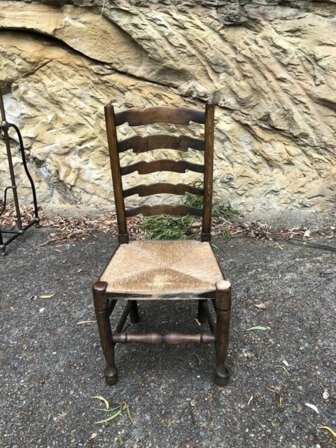 Antique 1920s Oak Rush Seat Ladder Back Chairs Set Of 5