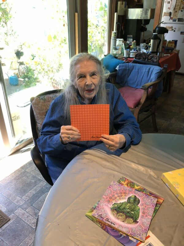 BLOTTER ART ORANGE SUNSHINE Signed BY ANN SHULGIN Perforated Sheet