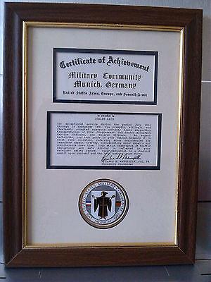 1992 Certificate United States Army Munich München Urkunde mit Rahmen