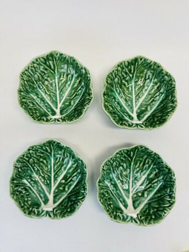 Set of 4 Olfaire by Bordallo Pinheiro Portugal Green Cabbage Leaf Bowl #805