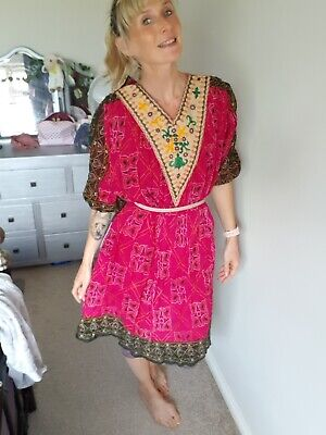 Beautiful Indian vintage dress boho hippy mirrored detail festival faerie retro