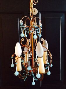 Petite antique French or Italian chandelier blue opaline