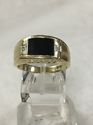 Men's 10K Yellow Gold Onyx & Diamond Ring Size 9.75